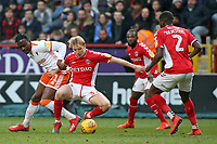 Blackpool's Joe Dodoo tussles with Charlton Athletic's George Lapslie<br /> <br /> Photographer David Shipman/CameraSport<br /> <br /> The EFL Sky Bet League One - Charlton Athletic v Blackpool - Saturday 16th February 2019 - The Valley - London<br /> <br /> World Copyright © 2019 CameraSport. All rights reserved. 43 Linden Ave. Countesthorpe. Leicester. England. LE8 5PG - Tel: +44 (0) 116 277 4147 - admin@camerasport.com - www.camerasport.com