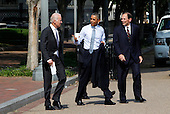 United States President Barack Obama, center, Robert  McDonald and U.S. Vice President Joseph Biden walk back to the White House through Lafayette Park following the announcement of the President's his intention to nominate McDonald as Secretary of the Department of Veterans Affairs in Washington, D.C. on June 30, 2014.<br /> Credit: Dennis Brack / Pool via CNP