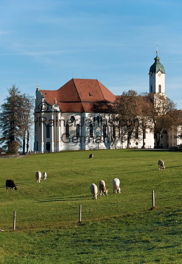 Deutschland, Bayern, Oberbayern, Pfaffenwinkel, Steingaden: Wallfahrtskirche Die Wies   Germany, Upper Bavaria, Steingaden: pilgrimage church The Wies