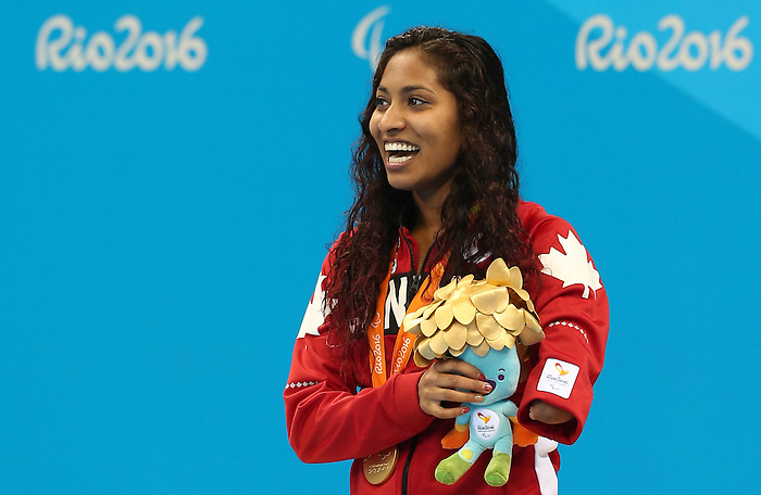 Rio de Janeiro-14/9/2016- Canadian swimmer Katarina Roxon wins gold in the woman's 100m breaststroke at the Olympic Aquatics Stadium at the 2016 Paralympic Games in Rio. Photo Scott Grant/Canadian Paralympic Committee