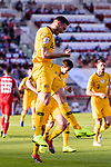 Apostolos Giannou of Australia (C) celebrates scoring his goal during the AFC Asian Cup UAE 2019 Group B match between Palestine (PLE) and Australia (AUS) at Rashid Stadium on 11 January 2019 in Dubai, United Arab Emirates. Photo by Marcio Rodrigo Machado / Power Sport Images