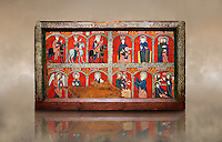 Romanesque thirteenth century painted altar front from the church of Santa Maria de Mosoll, Das, Baixa Cedanya, Spain, showing scenes from the life of the Virgin Mary.  National Art Museum of Catalonia, Barcelona 1922. Ref: MNAC 15788.