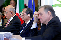 Antonio Patuelli Presidente of Italian Bank Association, Giovanni Tria Minister of Economy, Ignazio Visco President of Bank of Italy<br /> Roma 31/10/2018. ACRI. Giornata Mondiale del Risparmio 2018.<br /> Rome October 31st 2018. ACRI. World Saving Day 2018.<br /> Foto Samantha Zucchi Insidefoto