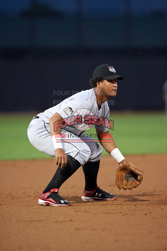 Tri-City ValleyCats third baseman Cesar Carrasco (9) during a game against the Aberdeen Ironbirds on August 6, 2015 at Ripken Stadium in Aberdeen, Maryland.  Tri-City defeated Aberdeen 5-0 in a combined no-hitter.  (Mike Janes/Four Seam Images)