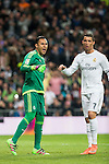 Real Madrid's Keylor Navas and Cristiano Ronaldo after stops the penalty and Sevilla FC's  during La Liga match. March 20,2016. (ALTERPHOTOS/Borja B.Hojas)