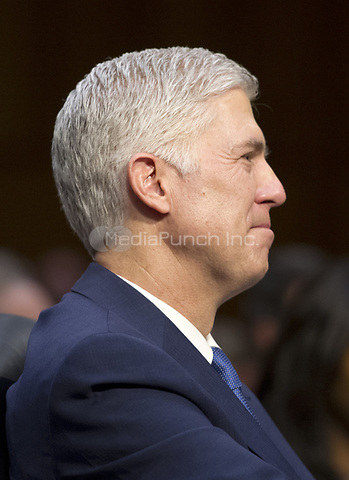 Judge Neil Gorsuch testifies before the United States Senate Judiciary Committee on his nomination as Associate Justice of the US Supreme Court to replace the late Justice Antonin Scalia on Capitol Hill in Washington, DC on Monday, March 20, 2017.<br />