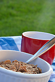 Stock photo of cereal and hot beverage