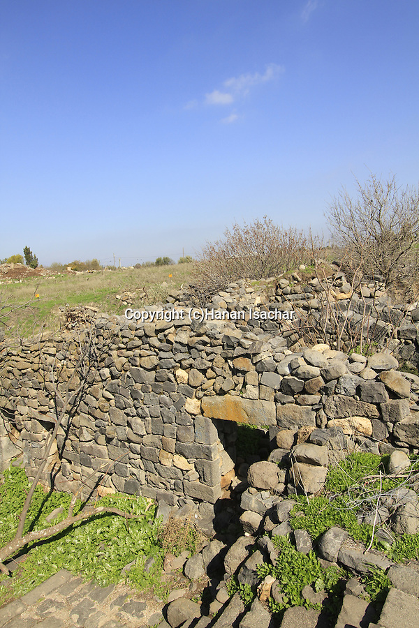Golan Heights, an old basalt structure above Ein Fik