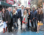 "The cast and creative team of ""The Performers"", from left, producer Amanda Lipitz, actor Henry Winkler, actress Ari Graynor, producer Scott M. Delman, actor Cheyenne Jackson, actress Jenni Barber, producer Robyn Goodman, actor Daniel Breaker and actress Alicia Silverstone  walk through Times Square to view '""The Performers"" theatre marquee on Tuesday, Sept. 25, 2012 in New York."