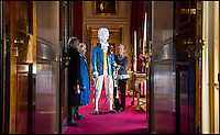 BNPS.co.uk (01202 558833)<br /> Pic: PhilYeomans/BNPS<br /> <br /> The notorious husband of the first Lady Diana Spencer has been brought back to life in the glorious surroundings of Blenheim Palace - made entirly of paper.<br /> <br /> Topham Beauclerk, was a 'Macaroni' - an 18th century group of wealthy and fashinable young men so named for their striking and colourful dress.<br /> <br /> He married the original Lady Diana Spencer - Princess Di's namesake and distant cousin - in 1768 after she walked out on her philandering husband.<br /> <br /> A great grandson of Charles II and his mistress Nell Gwynn, he was described as one of the most fashionable men in England and paper costume sculptor Denise Watson of Delicarta has created a stunning representation of his colourful style for a new fashion exhibition at Blenheim Palace.<br /> <br /> Everything from his wig, to his shoes and accessories are made from different types of paper - lighweight but stiffened Mulberry for the wig, painted newsprint paper for the waistcoat and breeches and cardboard tubes for his walking cane.
