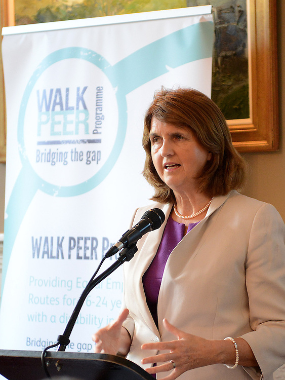 Minister for Social Protection Joan Bruton speaking at the launch of the Walk Peer Programme in Bellingham Castle hotel. Photo:Colin Bell/pressphotos.ie