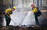 Firefighter Wes Odom, left, an Jimmy Niesen of the Surprise, Ariz., Fire Dept., mop up hot spots in a burnout area near Greer, Arizona in an attempt to solidify containment lines. The Wallow Fire has consumed 410,000 acres in northeastern Arizona and claimed at least 33 homes and 30 other structures. Rugged terrain and high winds have hampered firefighters efforts to develop a strong containment line to stop the advance of the fire. at least 3,500 personel are working the fire. The Wallow Fire has consumed 410,000 acres in northeastern Arizona and claimed at least 33 homes and 30 other structures. Rugge terrain and high winds have hampered firefighters efforts to develop a strong containment line to stop the advance of the fire. at least 3,500 personel are working the fire. terrain and high winds have hampered firefighters efforts to develop a strong containment line to stop the advance of the fire. at least 3,500 personel are working the fire.