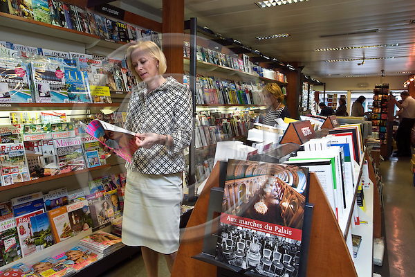 BRUSSELS - BELGIUM - 27 JUNE 2012 -- Anu NISSINEN - CEO of Sanoma Media in the book store Liberie de France looking at Gael magazine owned by Sanoma Media. --  PHOTO: Juha ROININEN /  EUP-IMAGES