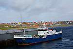 Stanley is located on a steep hillside on the south shore. Fishing is now the biggest industry in Falklands. In recent years, squif fishing licences have brought in more than ?30 millions  annually.