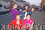 Aisling Scanlon (Templeglantine)and Claire Murphy(Newcastle West) front with Ciara Brosnan(Templeglantine) and Imogen Lyons(Dromtrasna) preforming on the streets of Abbeyfeale for the Street Busking Competition last Friday night as part of the annual Fleadh by the Feale.