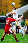 12 October 2011: University of Vermont Catamounts' Defender Matt Baker, a Sophomore from Lancaster, PA, in action against the Boston University Terriers at Centennial Field in Burlington, Vermont. The Catamounts were shut out 1-0 by the visiting Terriers. Mandatory Credit: Ed Wolfstein Photo