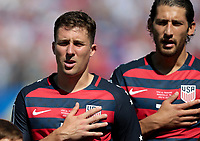 Nashville, TN - Saturday July 08, 2017: Matt Besler, Omar Gonzalez during a 2017 Gold Cup match between the men's national teams of the United States (USA) and Panama (PAN) at Nissan Stadium.