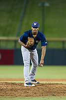 AZL Brewers relief pitcher Wilfred Salaman (16) gets ready to deliver a pitch during a game against the AZL Cubs on August 1, 2017 at Sloan Park in Mesa, Arizona. Brewers defeated the Cubs 5-4. (Zachary Lucy/Four Seam Images)