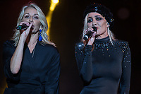 Sara Dallin and Siobhan Fahey of Bananarama perform at AmpRocks during Ampfest at Ampthill Great Park, Ampthill, England on 29 June 2018. Photo by David Horn.