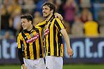 Nederland , Arnhem , 29 maart 2014<br /> Eredivisie<br /> seizoen 2013-2014<br /> Vitesse - Heerenveen<br /> Mike Havenaar (r) na zijn doelpunt en Valeri Qazaishvili (l)
