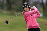 Chiara Noja (GER) on the 1st tee during Round 1 of the Irish Girls U18 Open Stroke Play Championship at Roganstown Golf &amp; Country Club, Dublin, Ireland. 05/04/19 <br /> Picture:  Thos Caffrey / www.golffile.ie