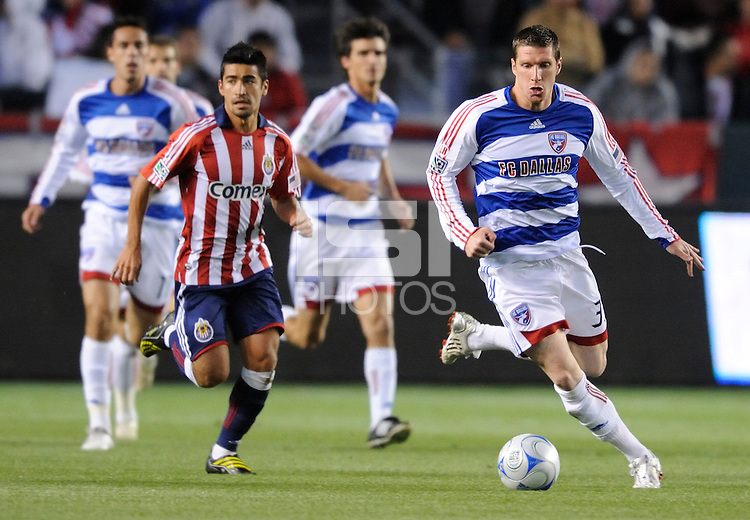 FC Dallas (33) Kenny Cooper makes his way up field against  Chivas USA in the second half during a game at the Home Depot Center in Carson, CA on Saturday, April 25, 2009..