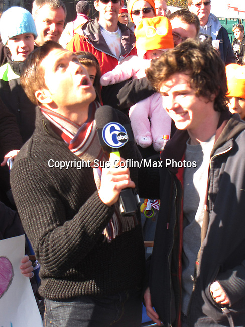 "Adam Joseph - 6 ABC Meteorologist & The Middle's Charlie McDermitt ""Axi Heck"" at the Philadelphia 93rd Annual Thanksgiving Day Parade on November 22, 2012 in Philadelphia, Pennsylvania. (Photo by Sue Coflin/Max Photos)"