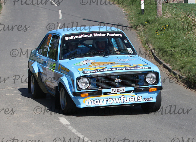 Fraser Mulholland - Geoff Patterson in a Ford Escort Mk 2 near Junction 4 on Special Stage 1 Loughries Village of the Discover Northern Ireland Circuit of Ireland Rally which was a constituent round of  the FIA European Rally Championship, the FIA Junior European Rally Championship, the Clonakilty Irish Tarmac Rally Championship, and the MSA ANICC Northern Ireland Stage Rally Championships which took place on 18.4.14 and 19.4.14 and was based in Belfast.