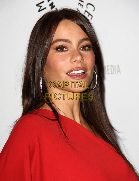 "SOFIA VERGARA .27th Annual PaleyFest Presents ""Modern Family"" held At The Saban Theatre, Beverly Glen Circle, California, USA, 26th February 2010..arrivals portrait headshot red mouth open hoop earrings one shoulder .CAP/ADM/KB.©Kevan Brooks/Admedia/Capital Pictures"