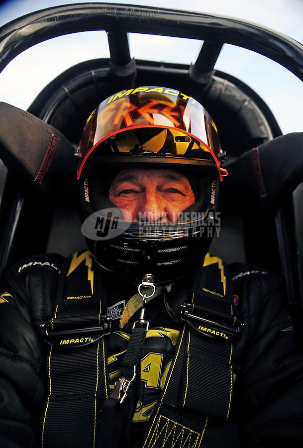 Feb. 19, 2010; Chandler, AZ, USA; NHRA top fuel dragster driver Chris Karamesines during qualifying for the Arizona Nationals at Firebird International Raceway. Mandatory Credit: Mark J. Rebilas-