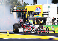 Mar 15, 2015; Gainesville, FL, USA; NHRA top fuel driver Steve Torrence during the Gatornationals at Auto Plus Raceway at Gainesville. Mandatory Credit: Mark J. Rebilas-