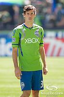 Seattle Sounders FC midfielder Brad Evans (3) at CenturyLink Field in Seattle, Washington.