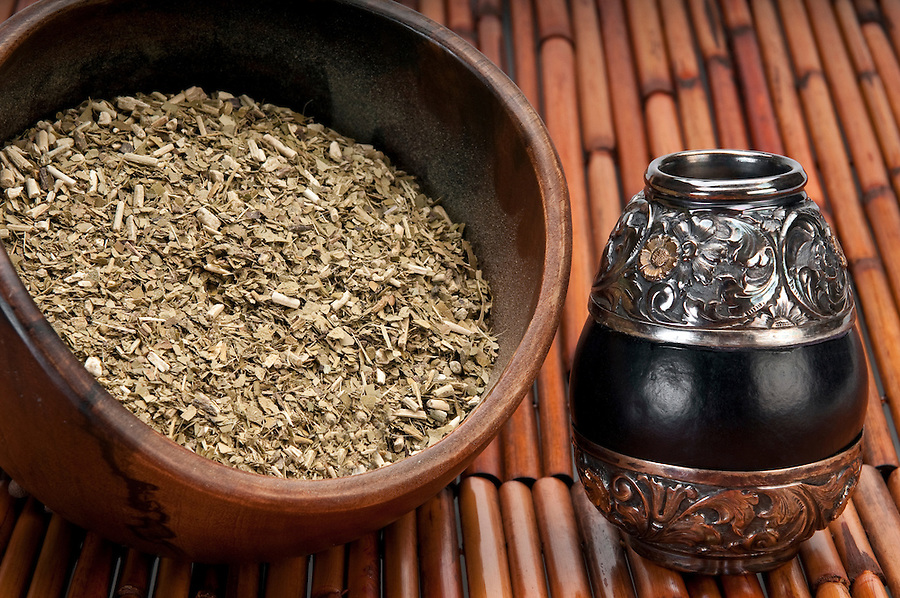 Close up of bowl of yerba mate and traditional calabash cup from Argentina.