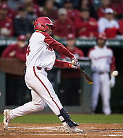 NWA Democrat-Gazette/BEN GOFF @NWABENGOFF<br /> Dominic Fletcher, Arkansas center fielder, hits a 2 RBI home run in the 3rd inning vs LSU Thursday, May 9, 2019, at Baum-Walker Stadium in Fayetteville.