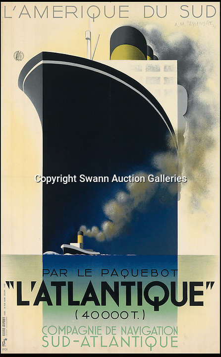 BNPS.co.uk (01202 558833)<br /> Pic: SwannGalleries/BNPS<br /> <br /> ***Please Use Full Byline***<br /> <br /> 1931 poster of 'L'Atlantique' - &pound;20,000.<br /> <br /> Beautiful posters from the halcyon days of travel up for auction.<br /> <br /> Scarce vintage travel posters promoting holidays across the globe in the 1920's and 30's are tipped to sell for over &pound;200,000 .<br /> <br /> The fine collection of 200 works of art that hark back to the halcyon days of train and boat travel have been brought together for sale.<br /> <br /> The posters were used to advertise dream holiday destinations in far-flung places such as the US and Australia and to celebrate the luxurious ways of getting to them.<br /> <br /> Most of the advertising posters date back to the 1930s and are Art Deco in style and they are all from the original print-run.