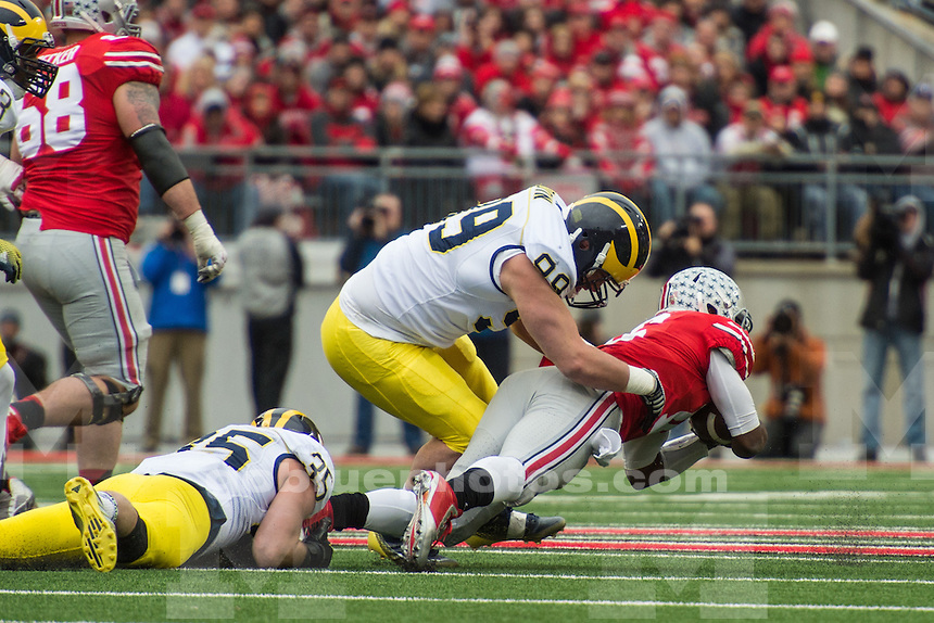 The University of Michigan football team falls to Ohio State, 42-28, at Ohio Stadium in Columbus, Ohio, on Nov. 29, 2014.