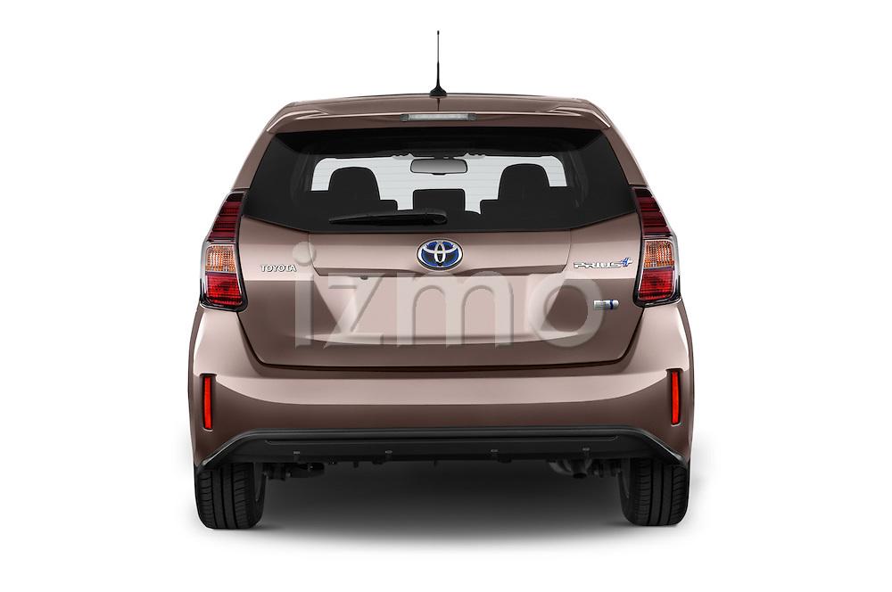 Straight rear view of a 2015 Toyota Grand Prius+ 5 Door Mini Van stock images