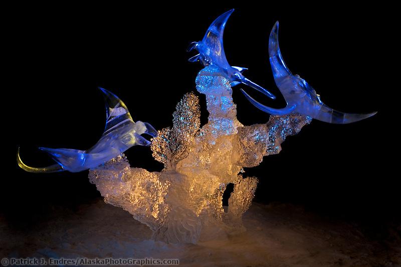 Ice Sculpture by Aaron Costic. Single Block 2004 World Ice Art Championships, Fairbanks Alaska.