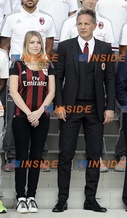 Barbara Berlusconi-Sinisa MIhajlovic <br /> Milano 10-09-2015 <br /> Milan Presentazione Ufficiale della squadra ai tifosi. Official presentation of AC Milan Football Calcio 2015/2015  - foto Daniele Buffa/Image Sport/Insidefoto