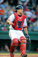 Catcher Jake Romanski (12) of the Greenville Drive in a game against the Kannapolis Intimidators on Friday, April 11, 2014, at Fluor Field at the West End in Greenville, South Carolina. Greenville won, 13-2. (Tom Priddy/Four Seam Images)