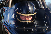 Nov 11, 2010; Pomona, CA, USA; NHRA top alcohol dragster driver Shawn Cowie during qualifying for the Auto Club Finals at Auto Club Raceway at Pomona. Mandatory Credit: Mark J. Rebilas-