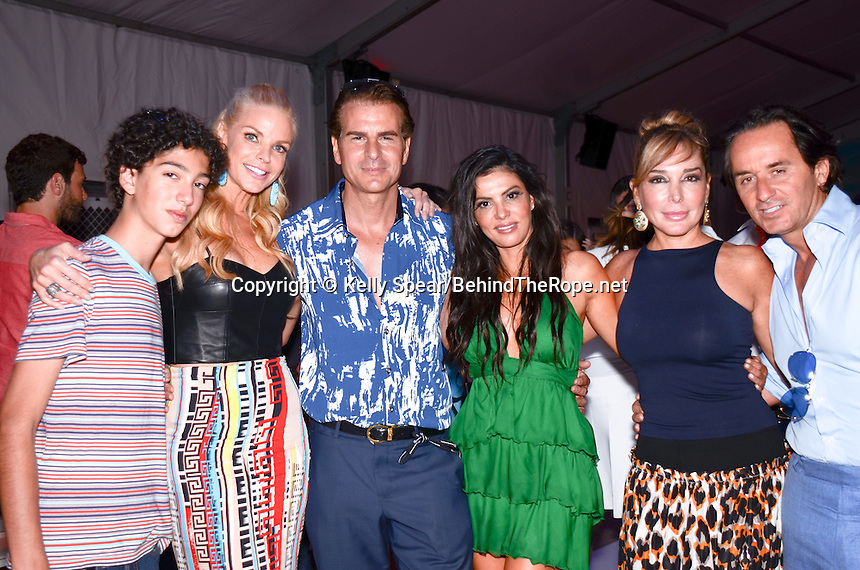 Alexia Echevarria, Adriana De Moura, and Marysol Patton of The Real Housewives of Miami and Actor Vincent De Paul attend Mercedes- Benz Swim Fashion Week at Raleigh Hotel, Miami, FL, July 21, 2013
