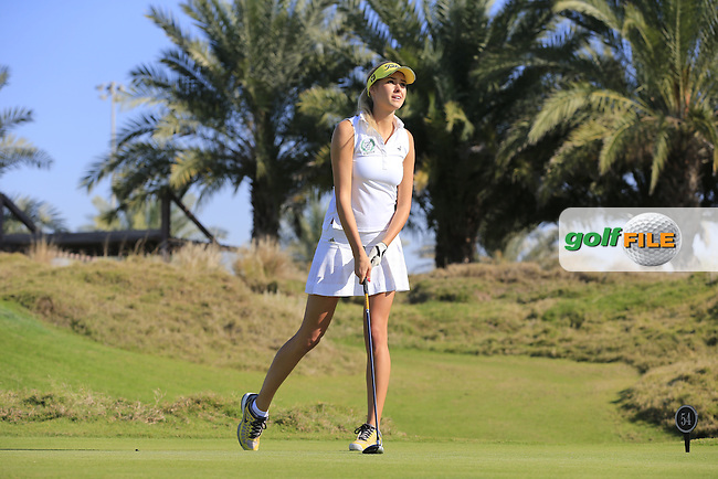 Simona Dvorakova on the 10th tee to start her match during the 2015 Abu Dhabi Invitational Am-Am event held at Yas Links Golf Course, Abu Dhabi.: Picture Eoin Clarke, www.golffile.ie: 1/26/2015