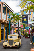 Philipsburg, Sint Maarten.  Old Street Street Scene with Antique Car.