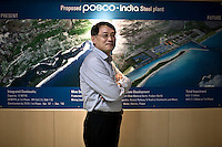 Gee-Woong Sung, Executive Director of Posco-India, at his office. South Korean steel giant Posco continues to face stiff public resistance in Orissa's Jagatsinghpur district where the company is setting up India's biggest direct foreign investment project of a 12 million tonne steel plant, at the cost of USD 12 billion.