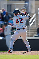 Alex Murphy (32) of the Delmarva Shorebirds at bat against the Kannapolis Intimidators at Kannapolis Intimidators Stadium on April 13, 2016 in Kannapolis, North Carolina.  The Intimidators defeated the Shorebirds 8-7.  (Brian Westerholt/Four Seam Images)
