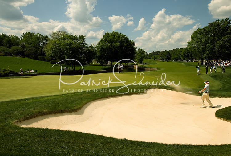 PGA golfer Heath Slocum hits from a sand trap during the 2008 Wachovia Championships at Quail Hollow Country Club in Charlotte, NC.
