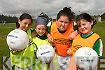 ON THE BALL: Maureen Daly O'Flaherty (Athea), Amy White (Athea), Nicola Horgan (Athea) and Megan Moloney (Ballyhahill) enjoying the National Irish Banks/FAI Soccer Summer Camp in Athea on Thursday last. .