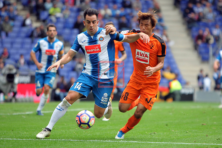 League Santander 2016/2017. Game: 9.<br /> RCD Espanyol vs SD Eibar: 3-3.<br /> Jurado vs Inui.