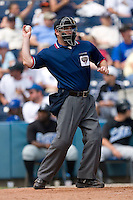 Home plate umpire Rob Healy throws a new baseball to the pitcher at Harbor Park June 7, 2009 in Norfolk, Virginia. (Photo by Brian Westerholt / Four Seam Images)